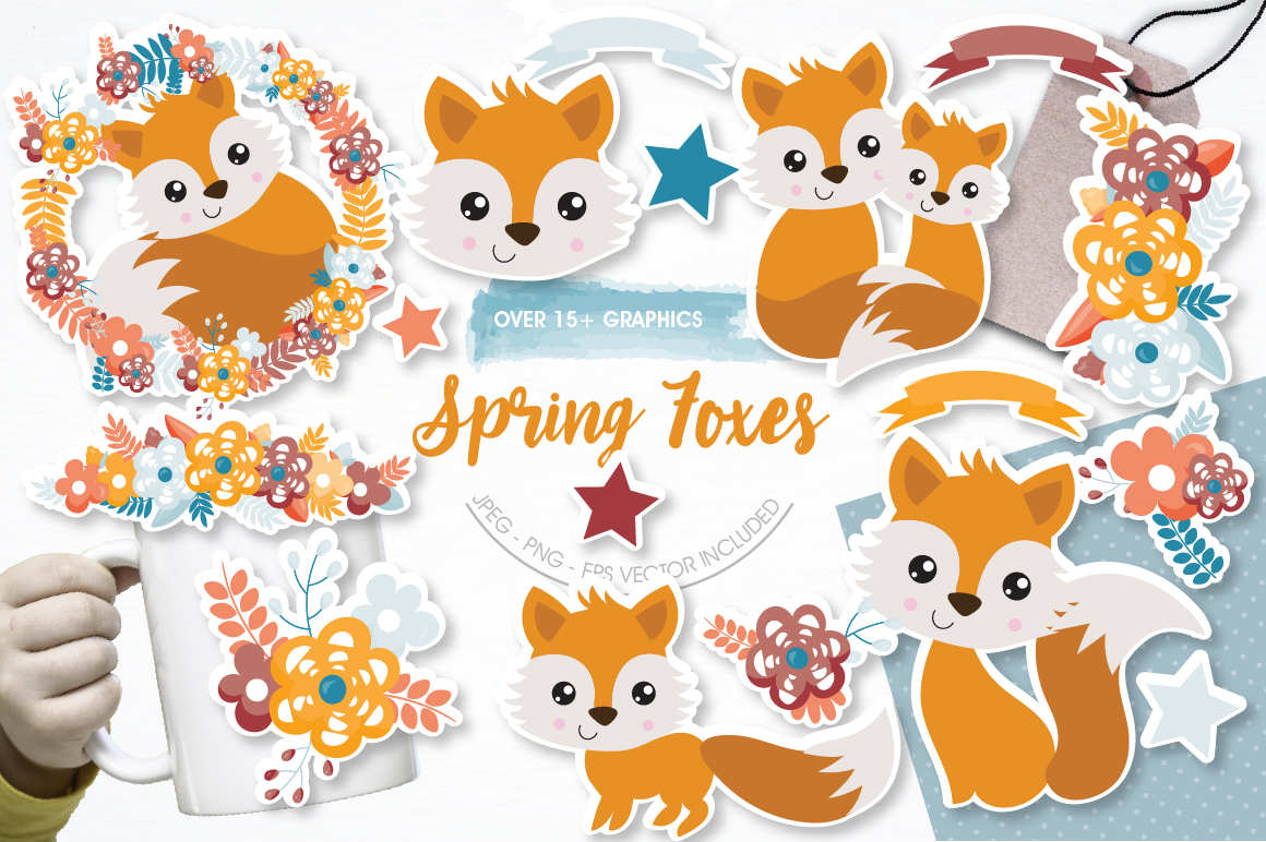 Spring Foxes graphics and illustrations example image 1