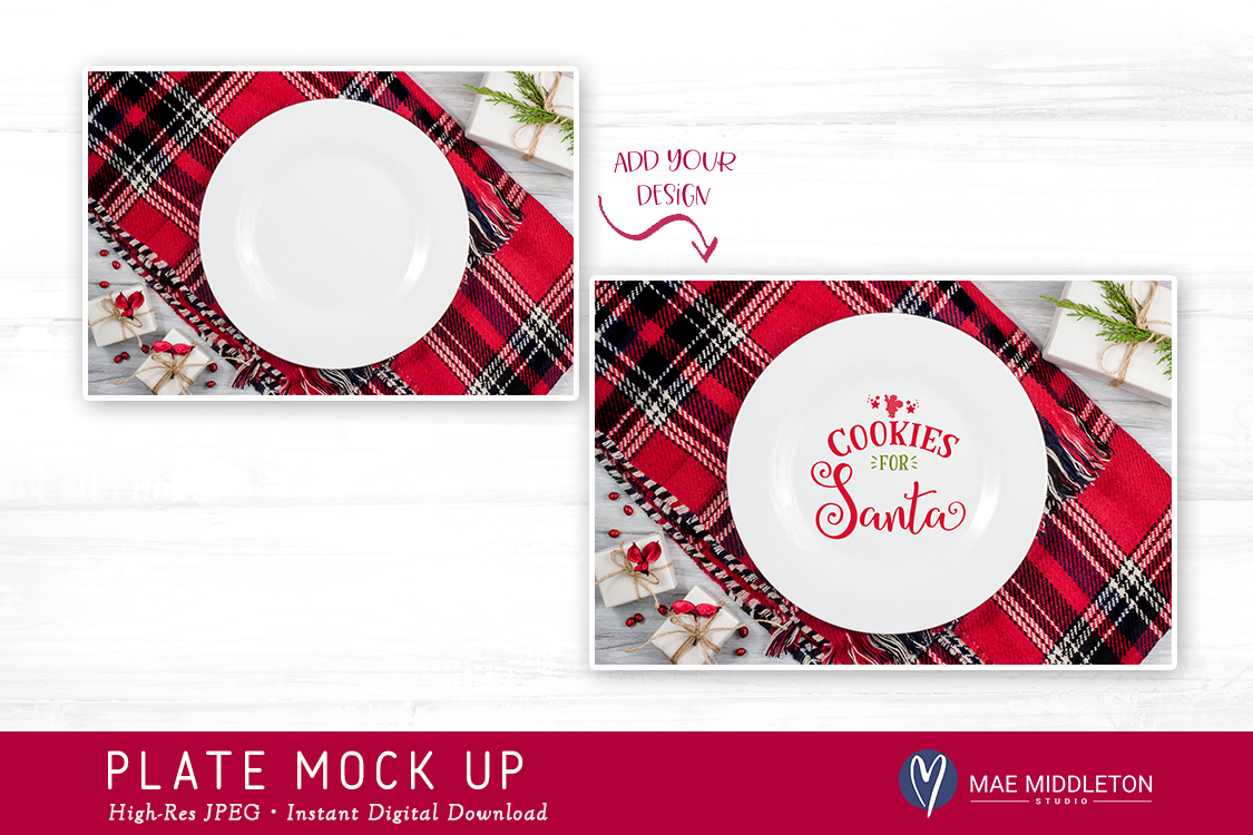 Plate Mock up for Christmas, Holiday styled stock photo example image 2