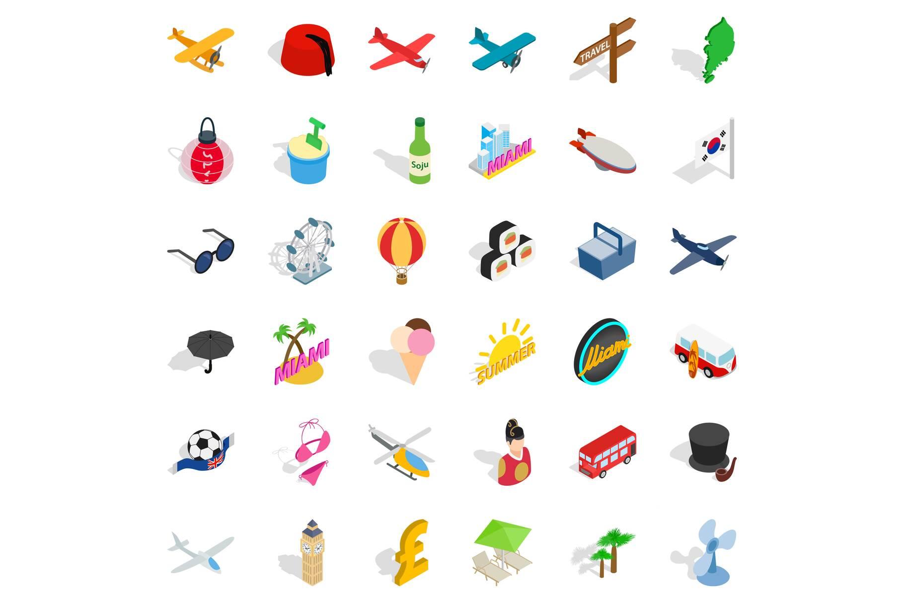 Miami travel icons set, isometric style example image 1