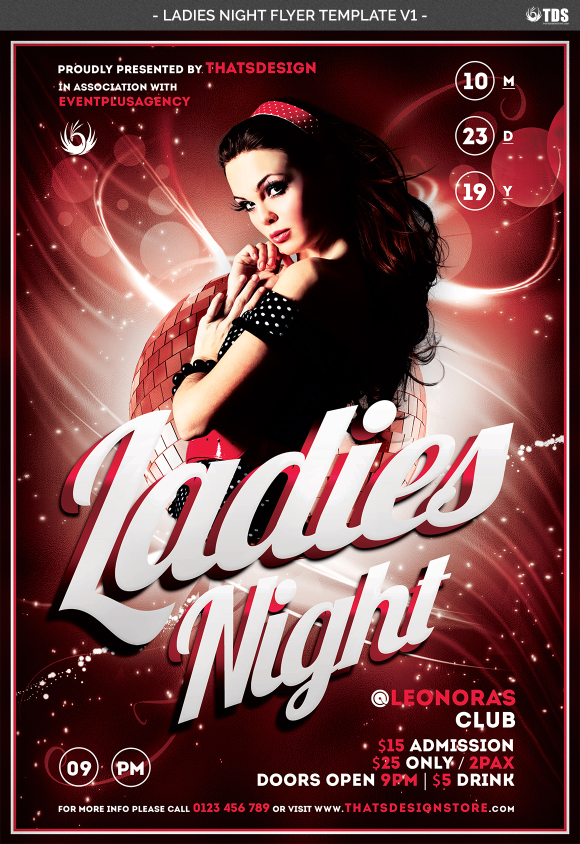 Ladies Night Flyer template V1 example image 4