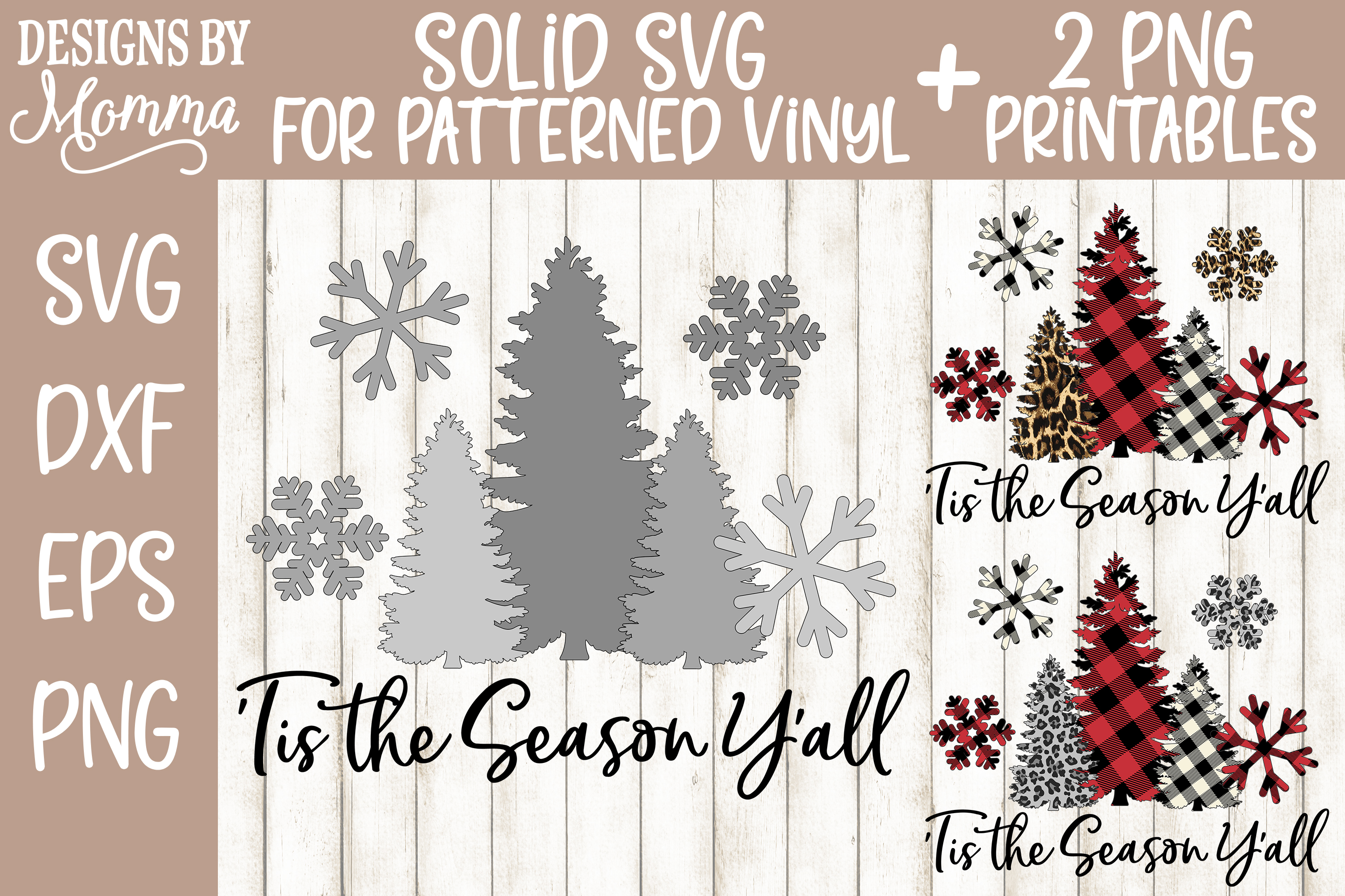 'Tis the Season Y'all Trees and Snowflakes SVG plus two PNGs example image 2