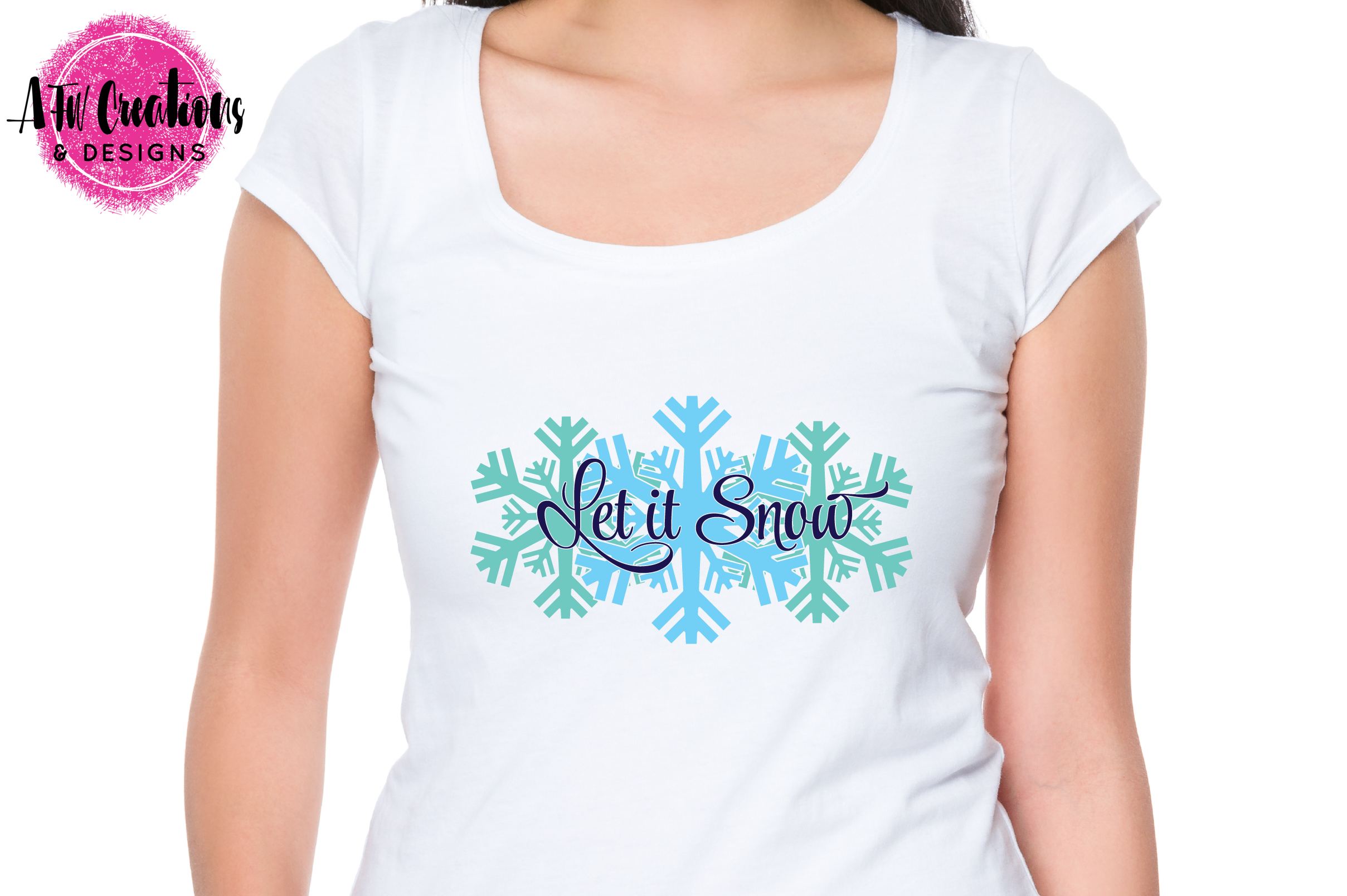 Let it Snow Snowflakes - SVG, DXF, EPS Cut File example image 2