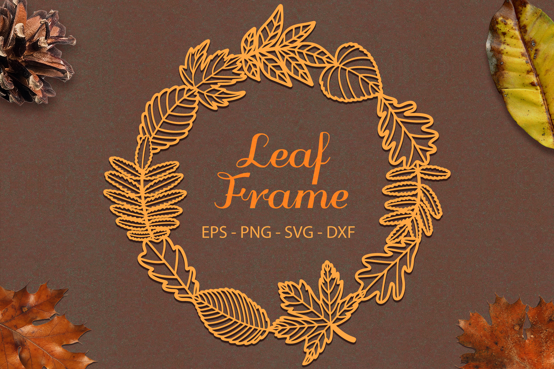 Leaf Frame svg png dxf eps - Autumn Leaves Paper Cut example image 1