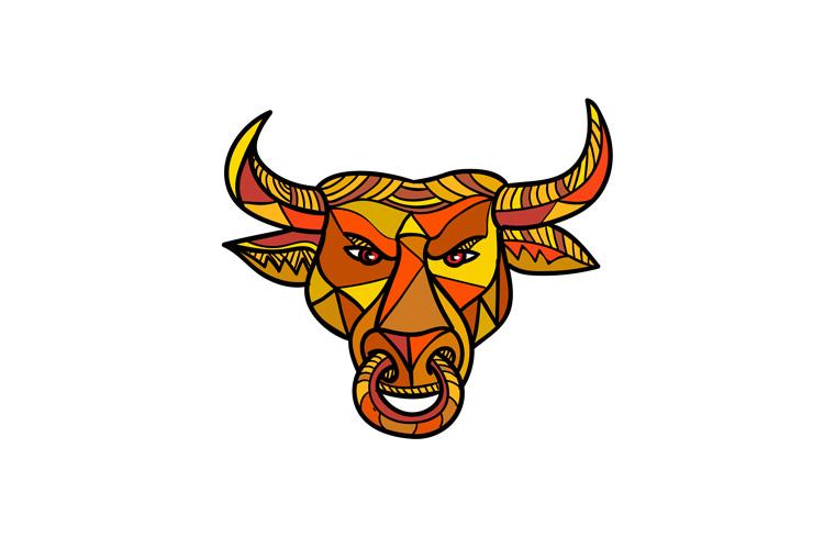 Texas Longhorn Bull Color Mosaic example image 1