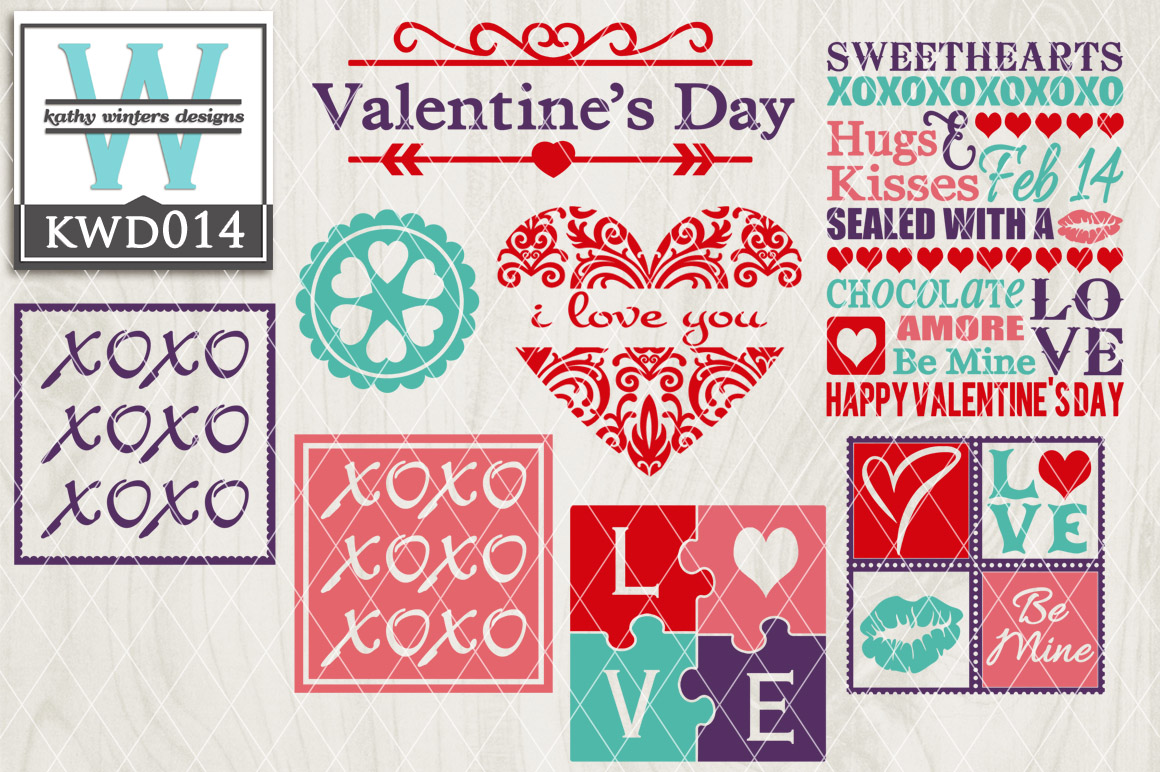 Valentines Cutting File KWD014 example image 1