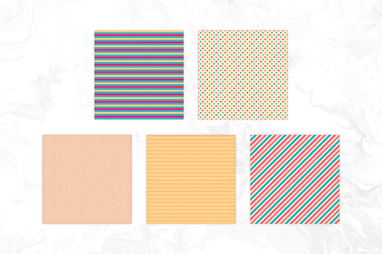 Retro Colors Seamless Geomteric Digital Paper example image 2