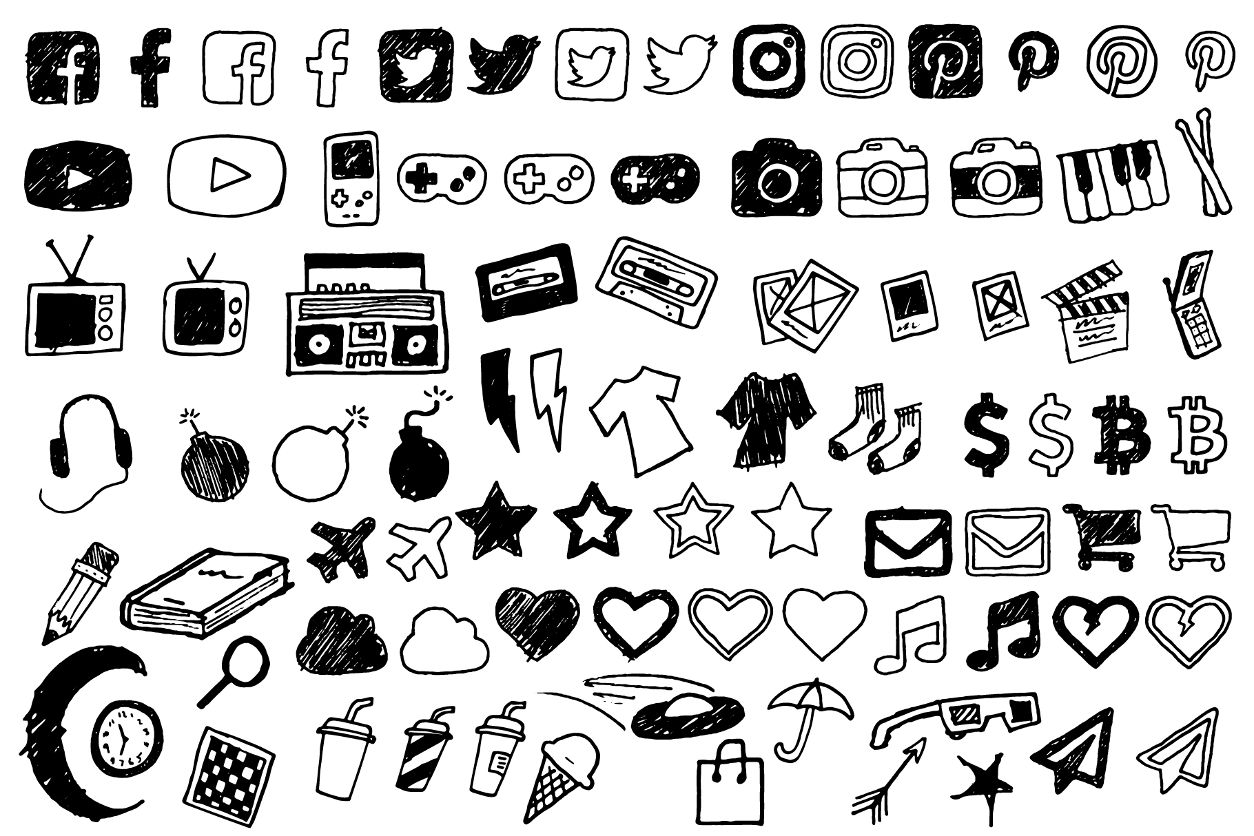 Doodle Style Icon Pack example image 2