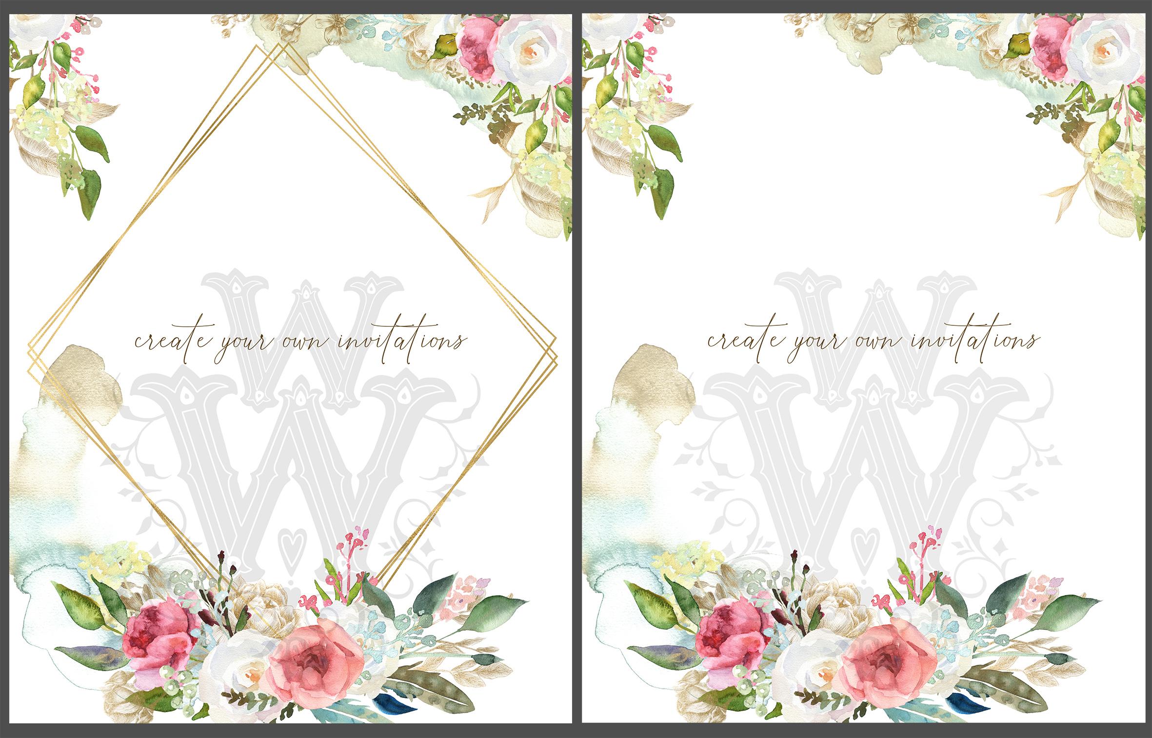 Watercolor rustic wedding bouquets clipart, vintage wreath example image 4