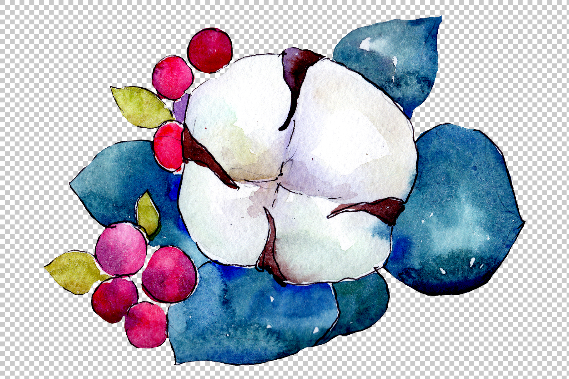 Bouquet flower composition PNG watercolor set example image 3