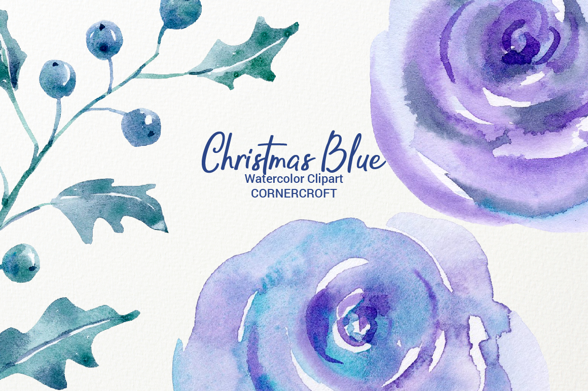 Watercolor Clip Art Christmas Blue example image 6