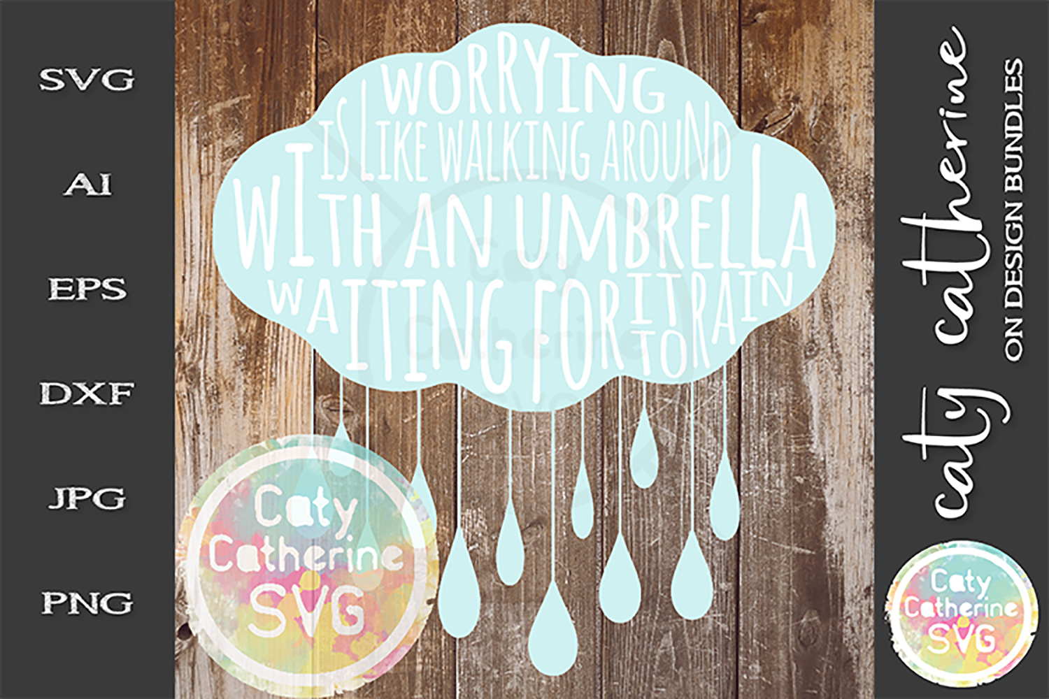 Worrying Its Like Walking With An Umbrella SVG Cut File example image 1