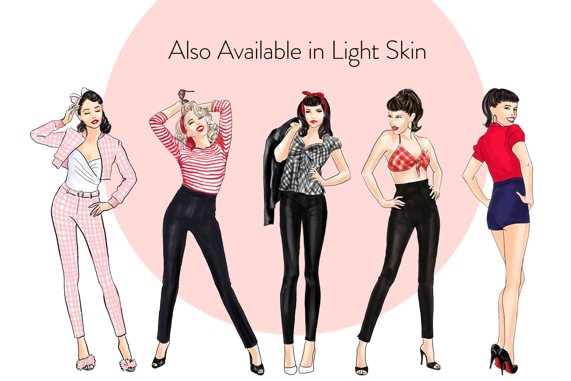 Fashion illustration clipart - Pin up Girls - Dark Skin example image 4