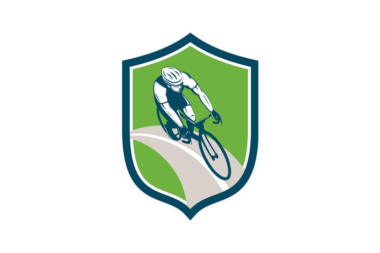 Cyclist Bicycle Rider Shield Retro example image 1