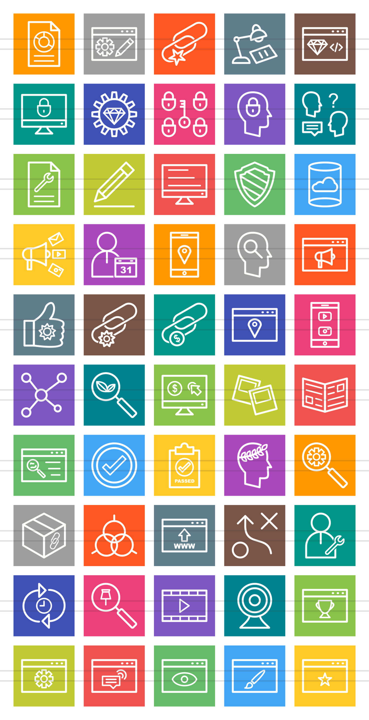 50 IT Services Line Multicolor B/G Icons example image 2