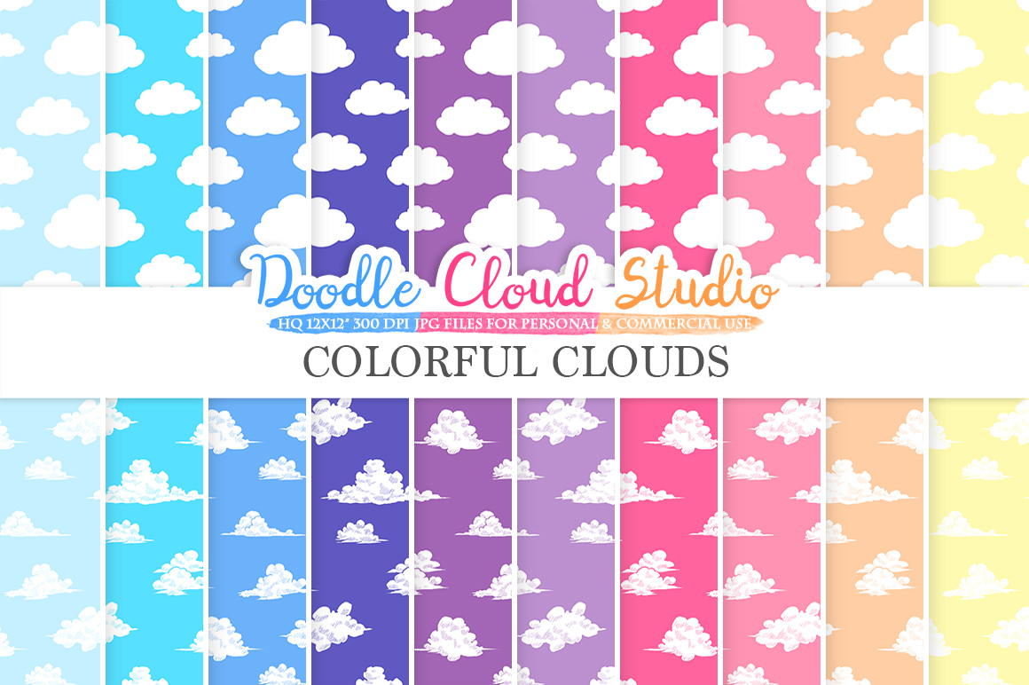 Colorful Clouds digital paper, Cloud patterns, Digital Clouds, sky day / night colors background, Instant Download Personal & Commercial Use example image 1