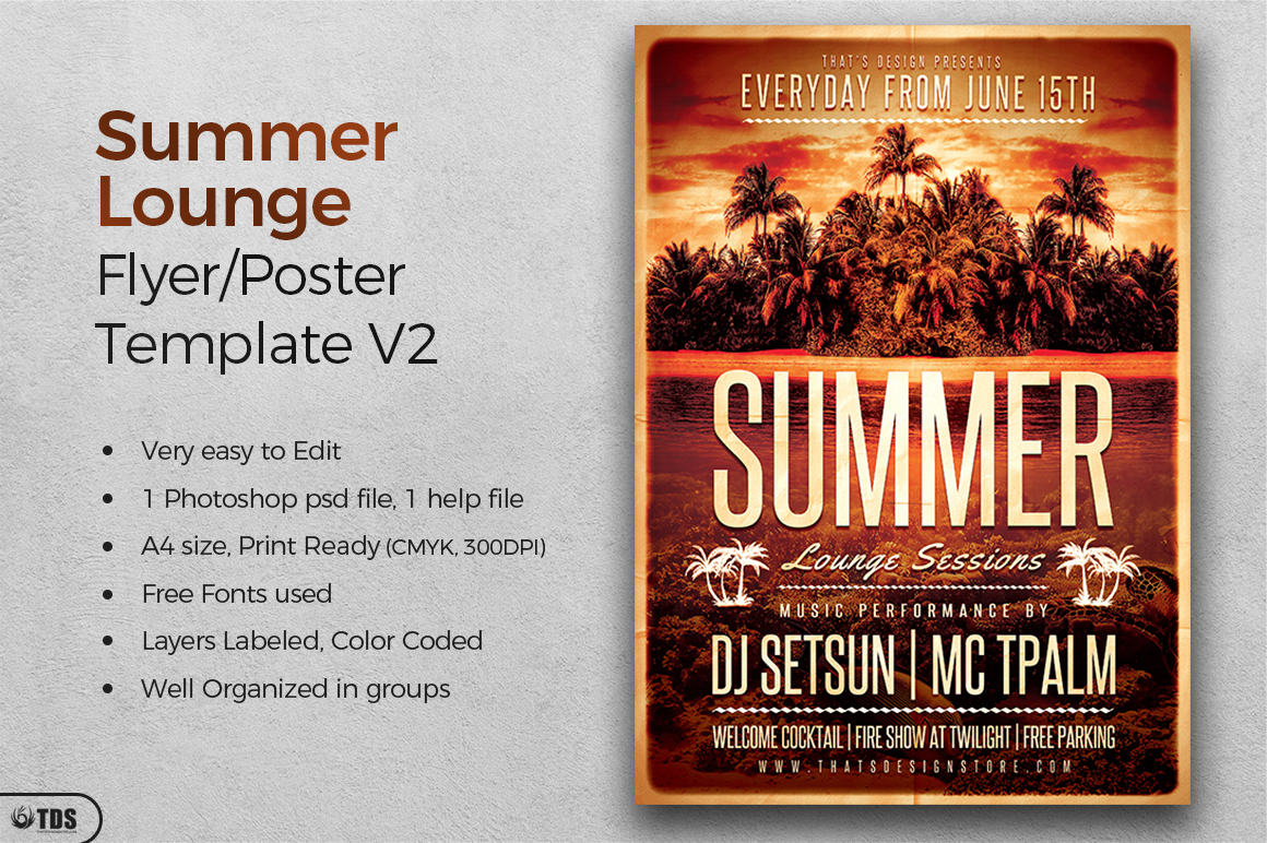 Summer Lounge Flyer Template V2 example image 2