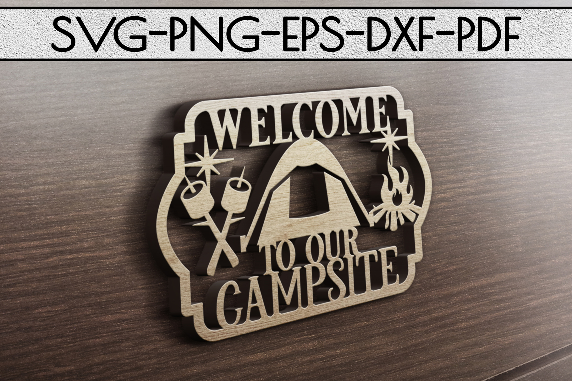 Welcome To Our Campsite Papercut Template, SVG, PDF, DXF example image 3