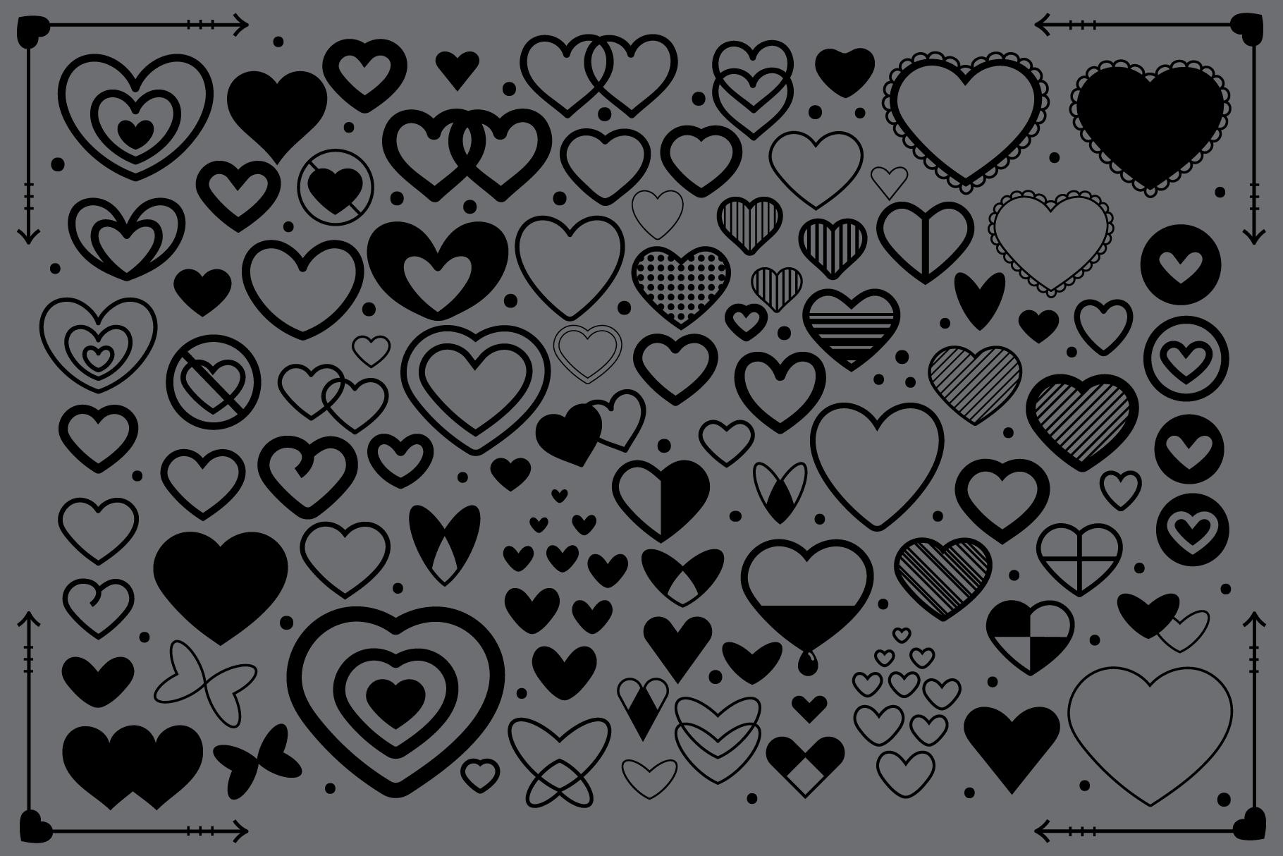 Simple Doodle Heart Clip Art Set example image 4