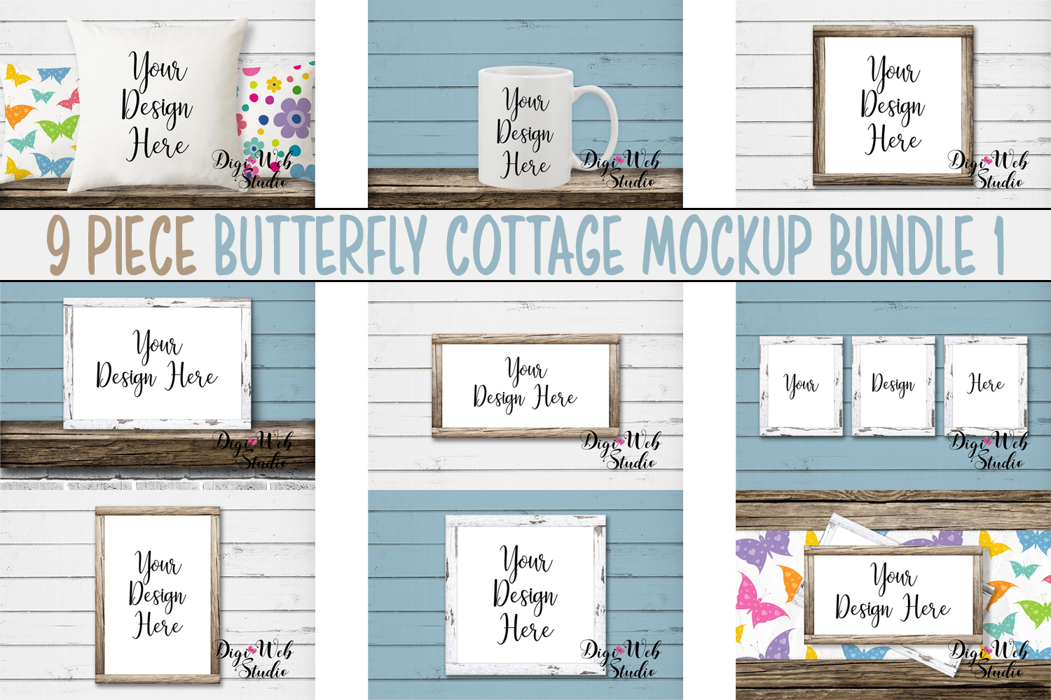 Mockup Bundle - Butterfly Cottage Wood Signs, Pillow & Mug example image 1