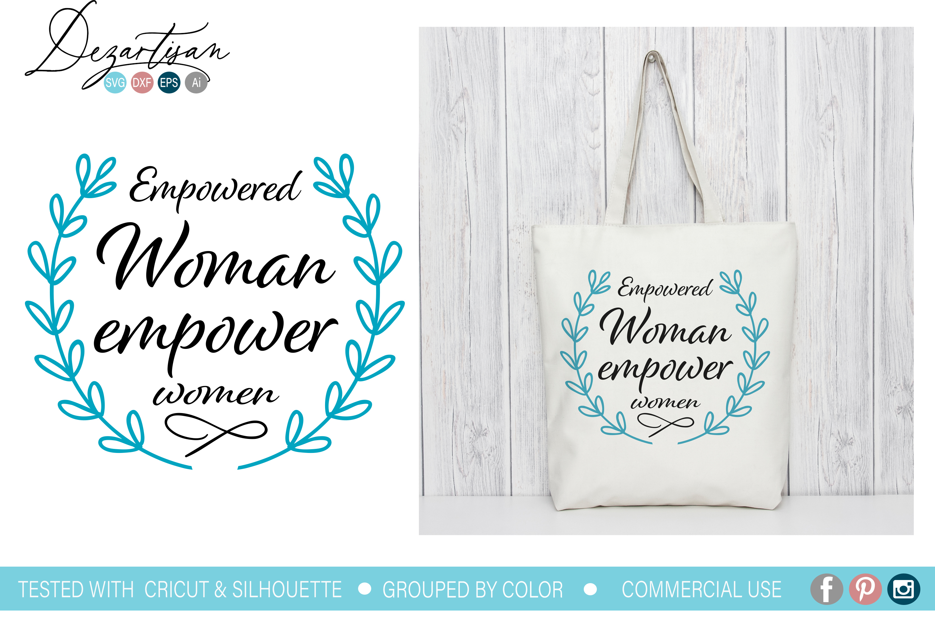 Empowered woman empower women SVG DXF cut file example image 1