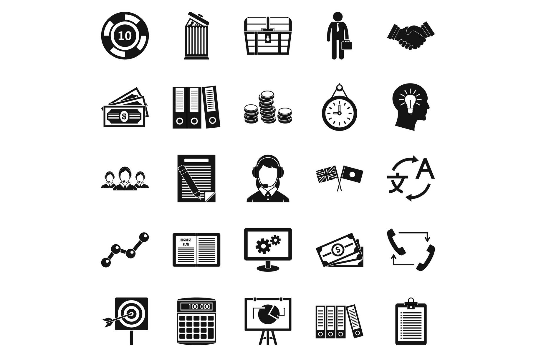 Customers of the bank icons set, simple style example image 1