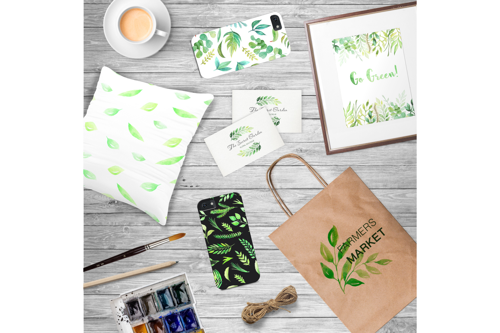 Watercolor Green Elements Pack example image 6