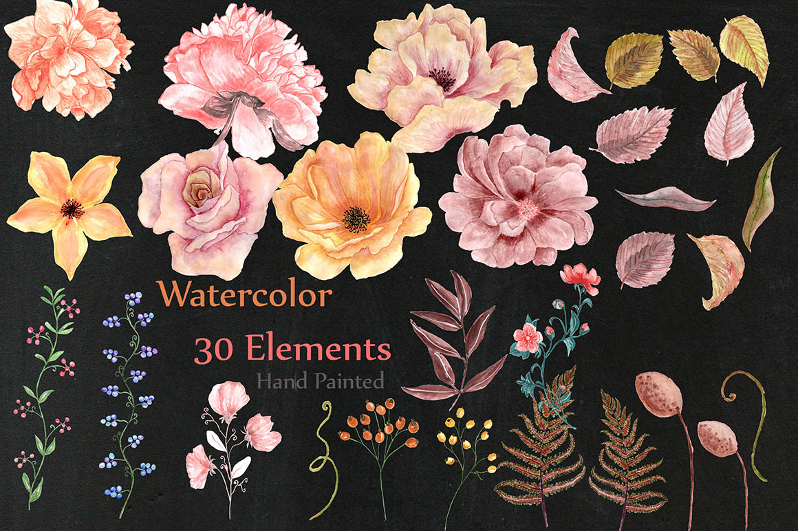 Watercolor flowers and wreaths example image 2