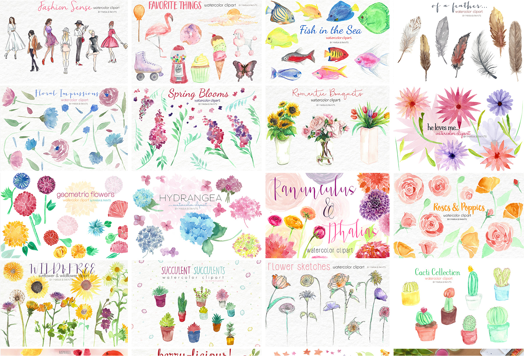 2,600 in 1 Watercolor Clip Art Bundle example image 19