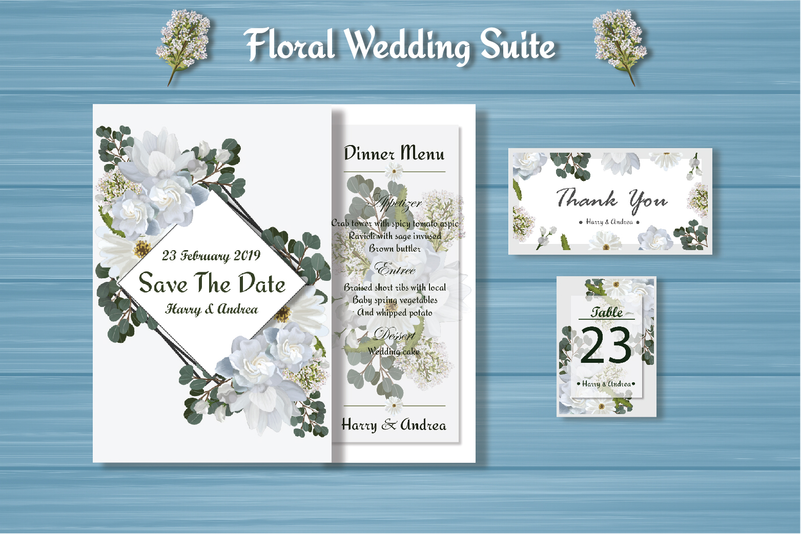 White Floral Wedding Invitation Suite example image 3