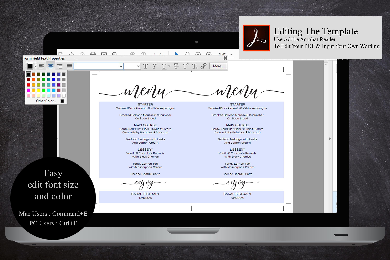 Wedding Menu Card Editable Template Printable Menu Cards example image 5