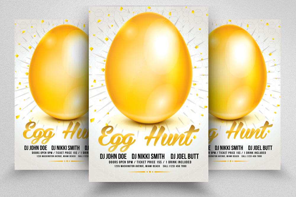 10 Easter Egg Psd Flyer Print Template Bundle example image 7