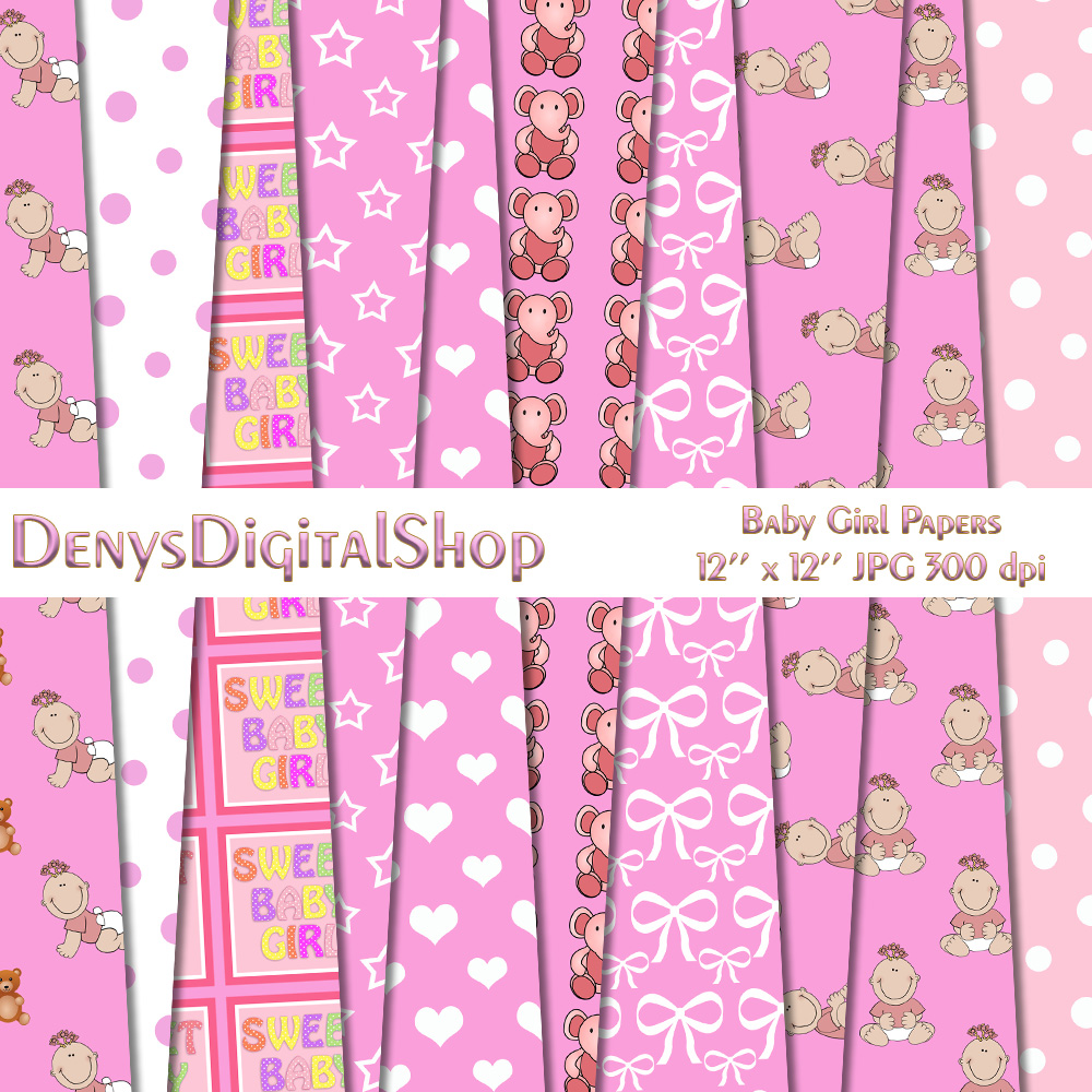 Baby Girl Pattern, Baby Shower, Pink Girl, Pink,BLACK FRIDAY example image 1