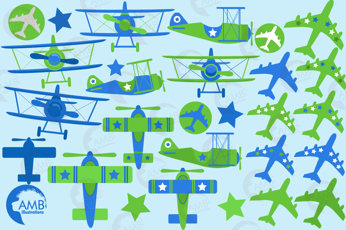 Airplane clipart, Airplane graphics, Biplane, Plane clipart, graphics, illustrations AMB-2270 example image 5