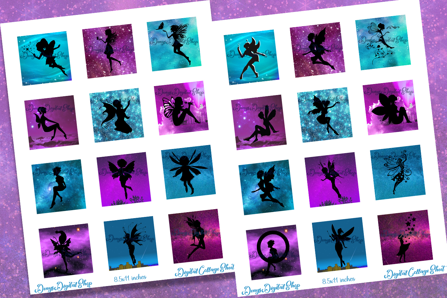 Fairies Silhouettes,Squares Digital Collage Sheet,Shine example image 2