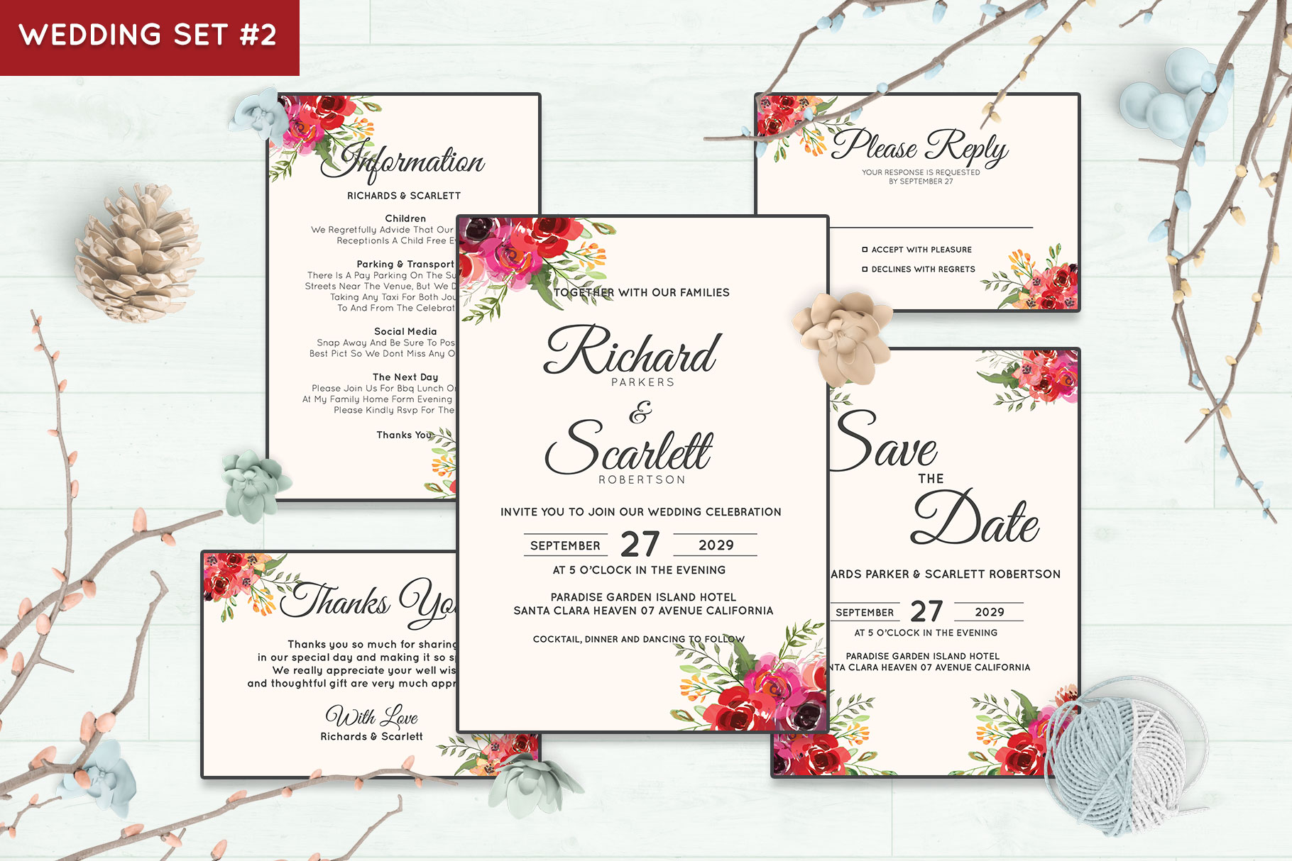 Wedding Invitation Set #2 Watercolor Floral Flower Style example image 1
