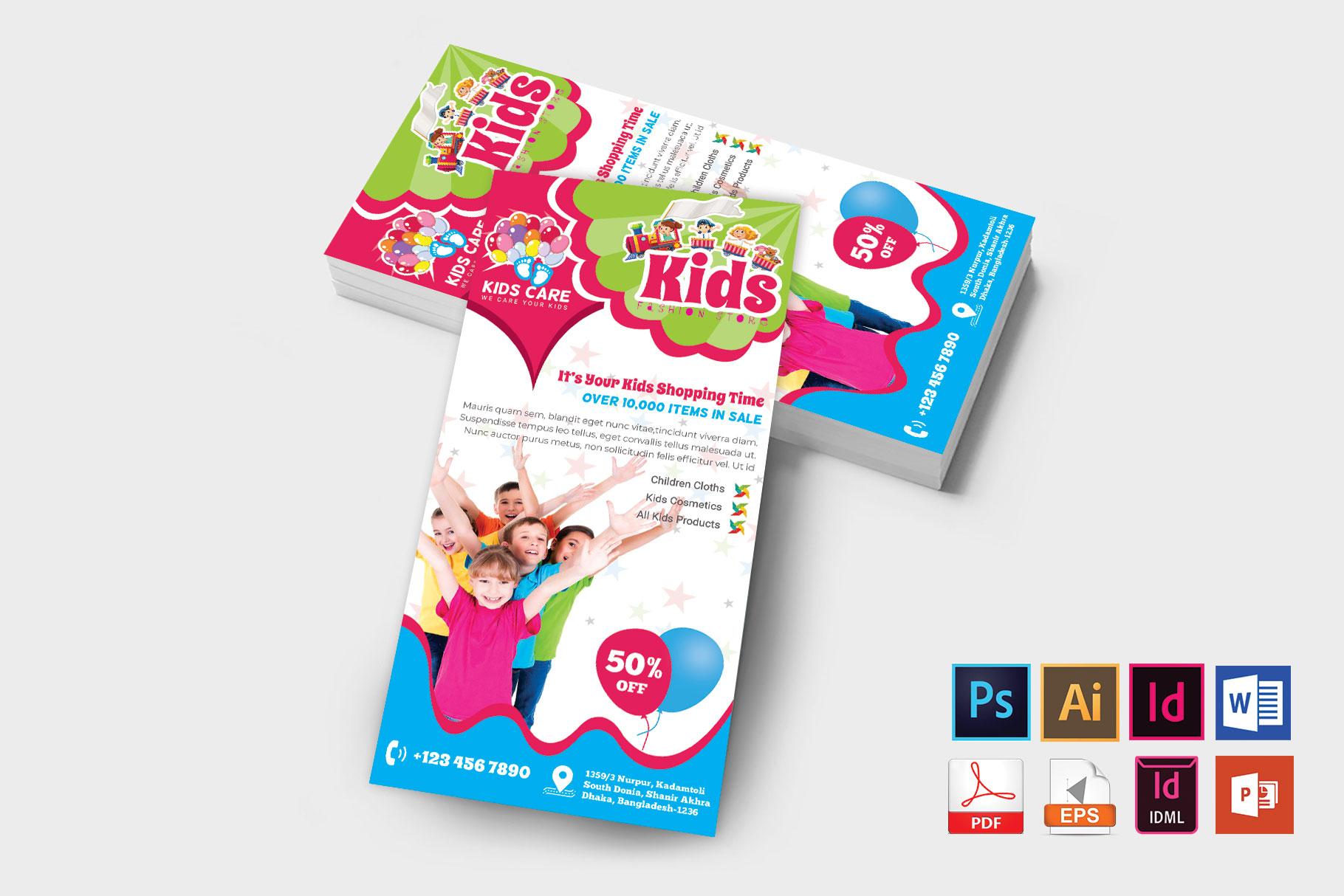 Rack Card | Kids Fashion DL Flyer Vol-02 example image 2