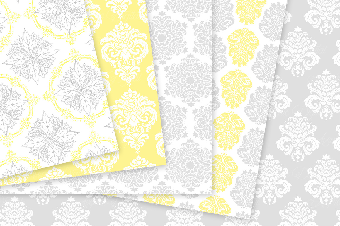 28 Yellow and Gray Damask Patterns - Seamless Digital Papers Bundle example image 8