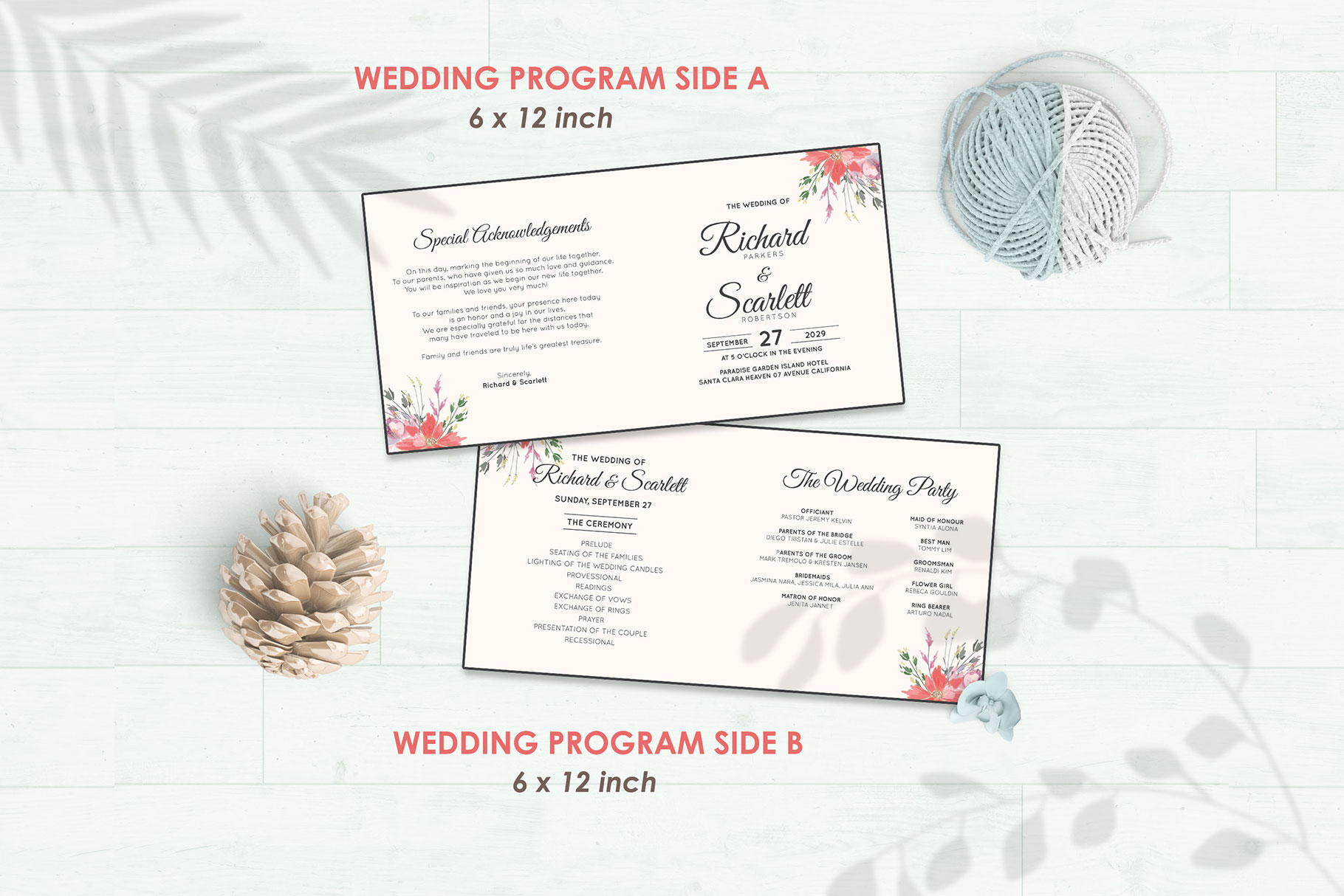 Wedding Invitation Set #14 Watercolor Floral Flower Style example image 5