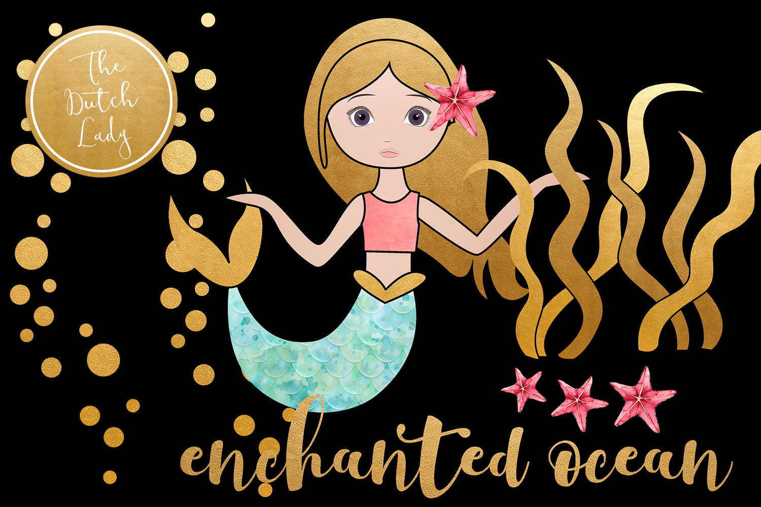 Enchanted Mermaid Ocean Clipart Set example image 2