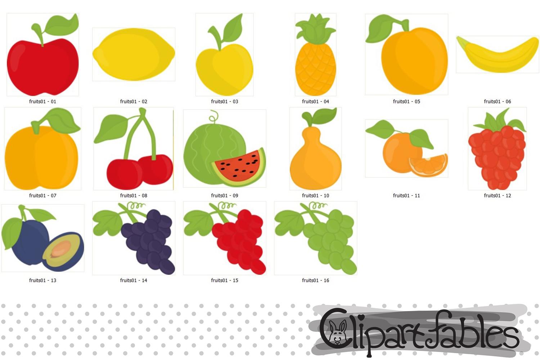 Cute fruits clipart - instant download, digital clip art set example image 2