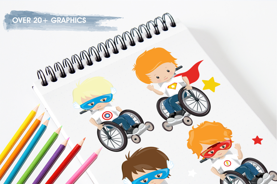 Kids in wheelchair graphic and illustrations example image 4