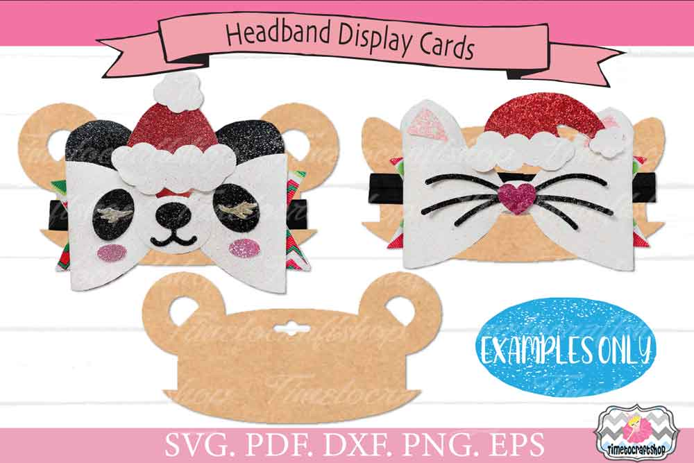 3 in 1 Animal Ears Bow Clip Headband Display Card Bundle example image 6