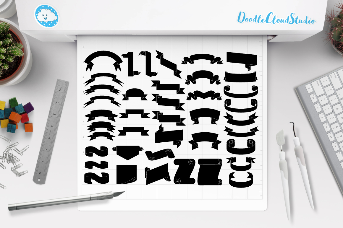 Ribbon SVG, Scroll banner SVG files for Silhouette Cameo and Cricut. Ribbon outline, Banner clipart PNG included, clipart PNG transparent example image 1