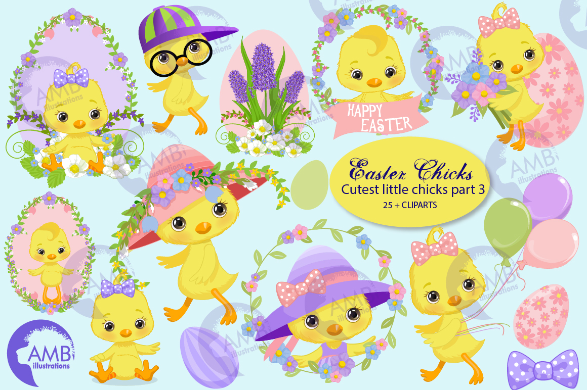 Easter Chicks clipart, part 3 AMB- 2728 example image 1