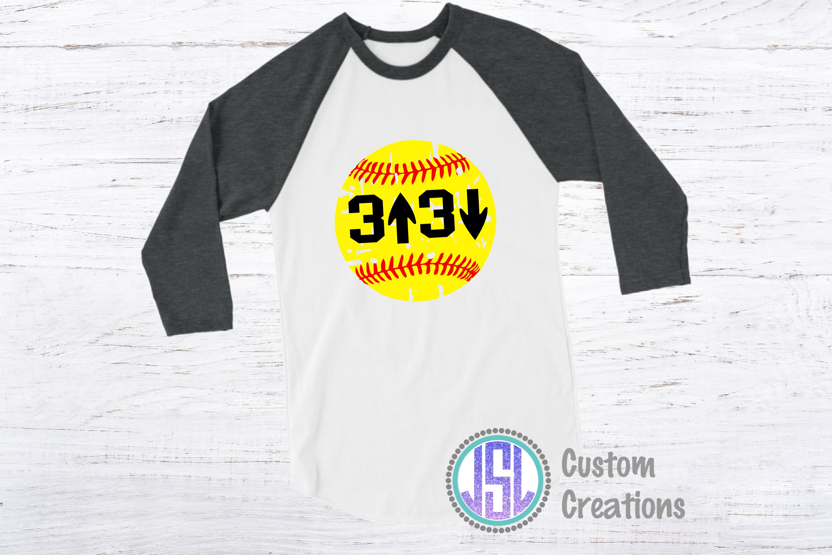 3 Up 3 Down| Softball Design | SVG DXF EPS PNG Cut FIle example image 2