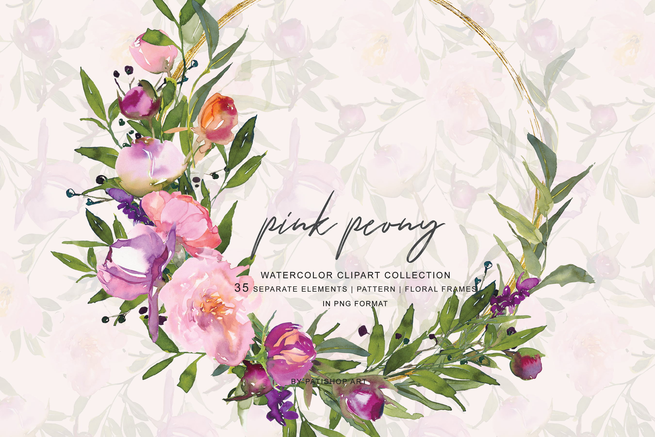Watercolor Pink Peony Frame Collection example image 3