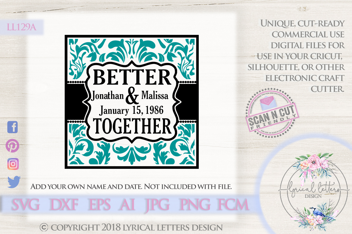 Better Together Block Weddding SVG DXF Cut file LL129A example image 1