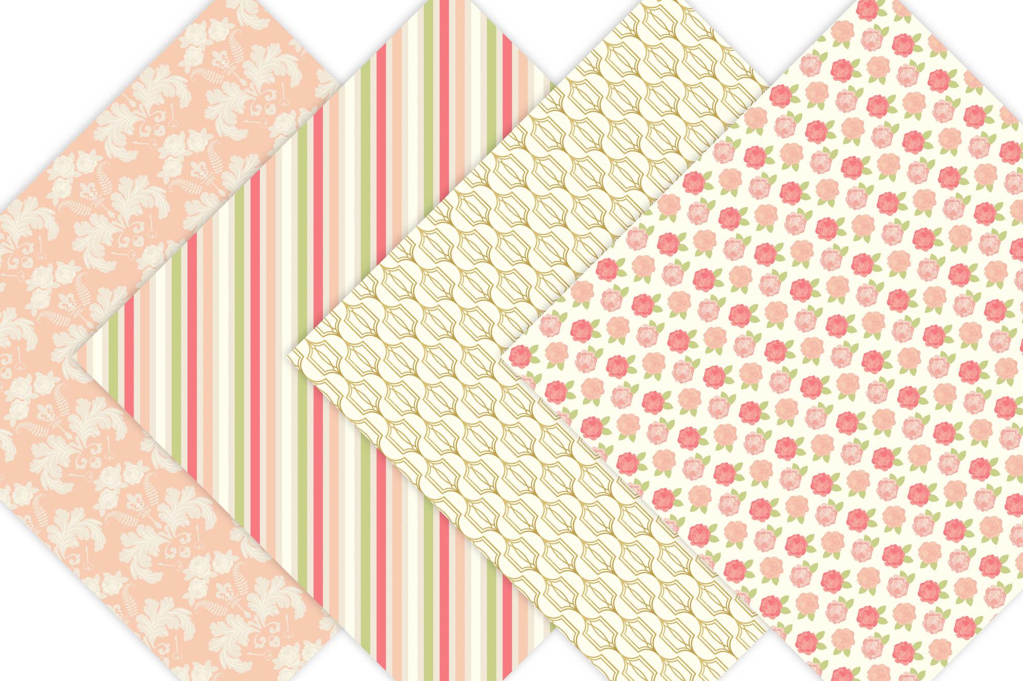 Gold Floral Digital Patterns - Digital Scrapbook Paper example image 2