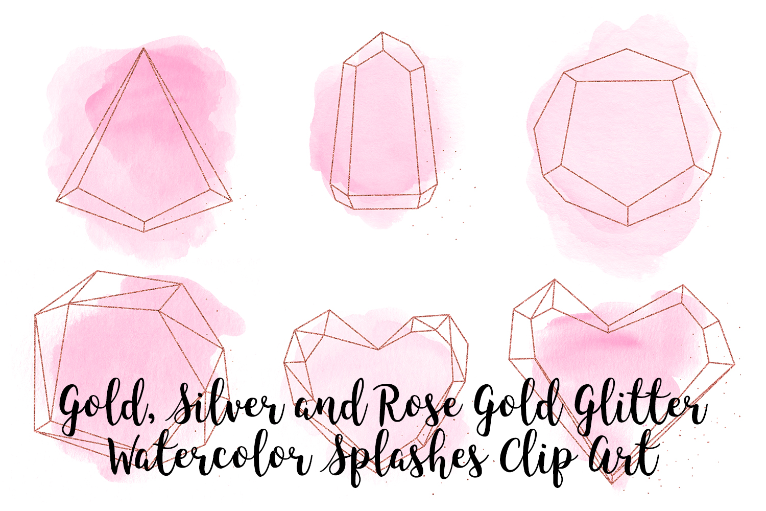 Gold, Silver and Rose Gold Crystals with Pink Watercolor example image 2