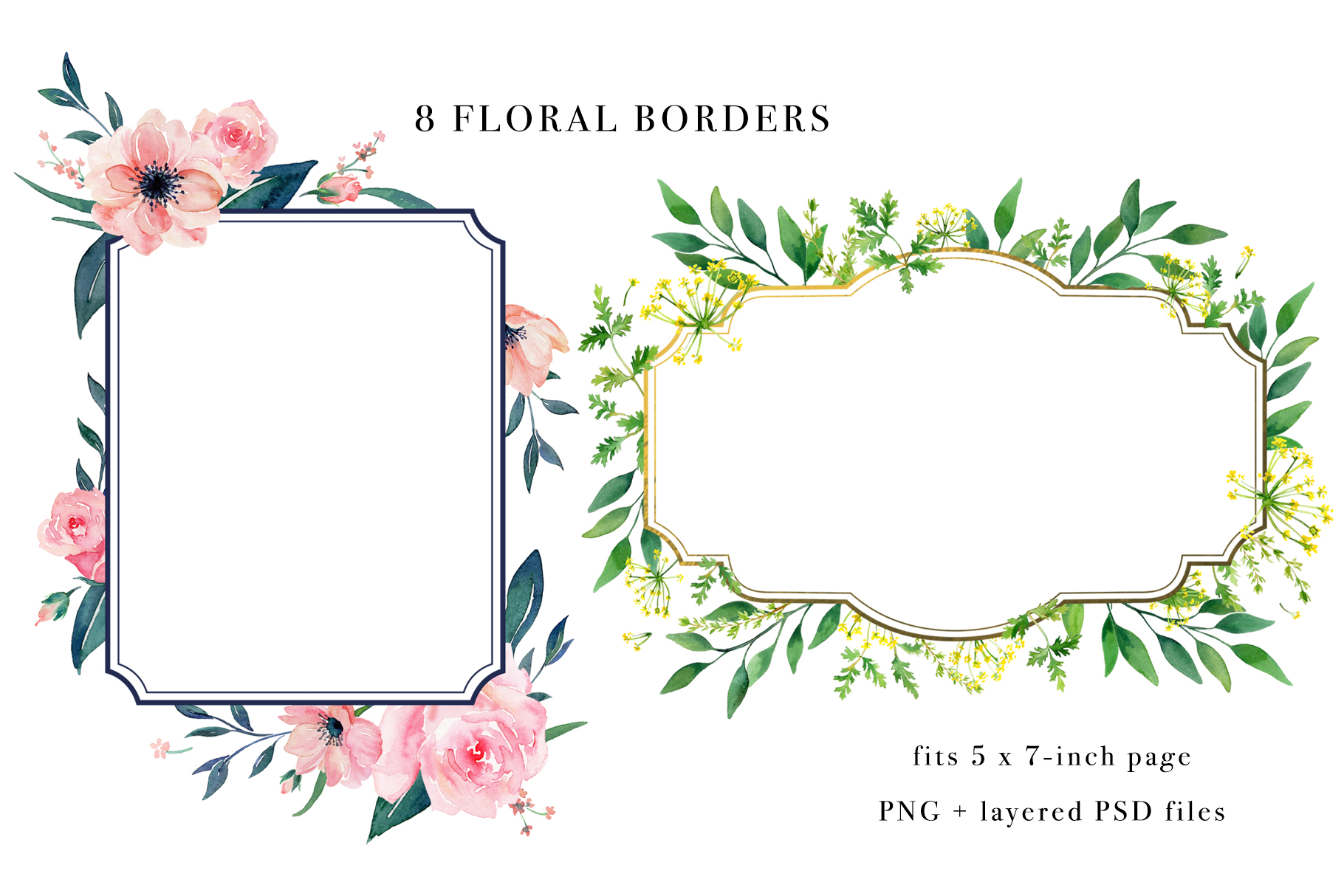 Floral Borders Watercolor Set example image 5